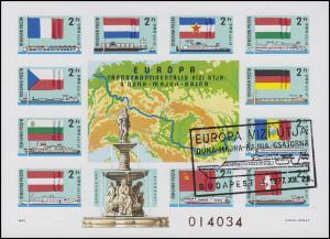 Ungarn Block 128B Donaukommission, Block ungezähnt ESSt Budapest 29.12.1977