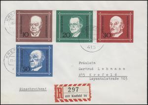 554-557 Adenauer Churchill De Gasperi Schuman aus Bl.4 R-FDC Krefeld 19.4.68