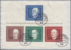 Block 4 Todestag Konrad Adenauer EF Bf. KASSEL-BETTENHAUSEN 20.4.68 n. Dierstorf
