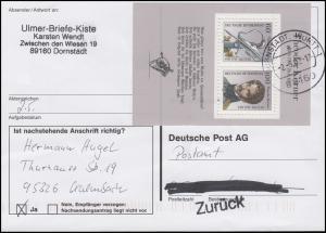 Block 25 Theodor Körner auf Anschriftenprüfung-Karte DORNSTADT 2.5.92