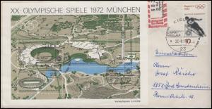 Sonder-R-Zettel Kiel Segelwettbewerbe 1972 R-Brief SSt Kiel Fackellauf 27.8.72