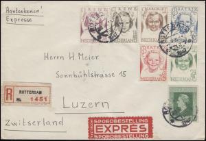 Niederlande 462-467 Kinder/Tuberkulosebekämpfung MiF Eil-R-Bf ROTTERDAM 29.3.47
