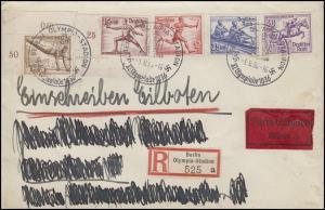 Sonder-R-Zettel Berlin Olympia-Station Eil-Bf SSt BERLIN-OLYMPIA-STATION 1.8.36