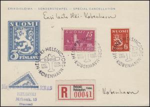 Erstflug Helsinki - Kopenhagen 11.3.1948 auf R-Sonderpostkarte mit MiF mit SSt