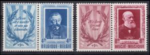 Belgien 947ZF und 948ZF Schriftsteller 1952 - Satz mit Zierfeld **