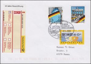 Sonder-R-Zettel 10 Jahre Maueröffnung auf R-Brief SSt Marienborn Trabant 9.11.99