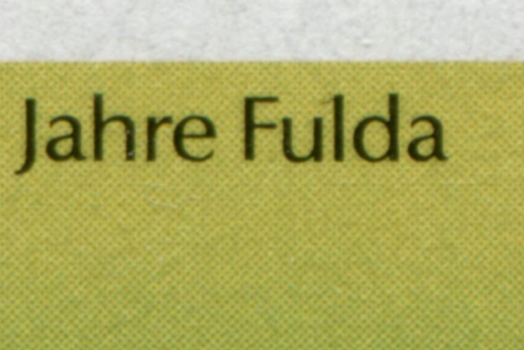 1722 Fulda: Eckrand-9er-Block mit PLF auf Feld 2 und PLF 1722X auf Feld 11, **  1