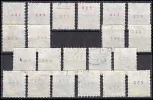 694 ff Unfall: Farben-Set mit rot, grün, blau und blaugrün mit 21 Marken, Set O