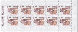 2225 SWK 510 Pf / 261 Cent Heidelberger Schloss - 10er-Bogen **