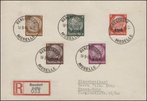 Elsaß 4ff Hindenburg mit/ohne Aufrduck MiF auf R-Bf. BENSESTROFF/MOSELLE 19.9.40