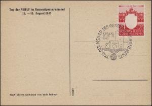Generalgouvernement 106 NSDAP 24 Pf als FDC-Ansichtakarte ESSt Krakau 13.8.1943