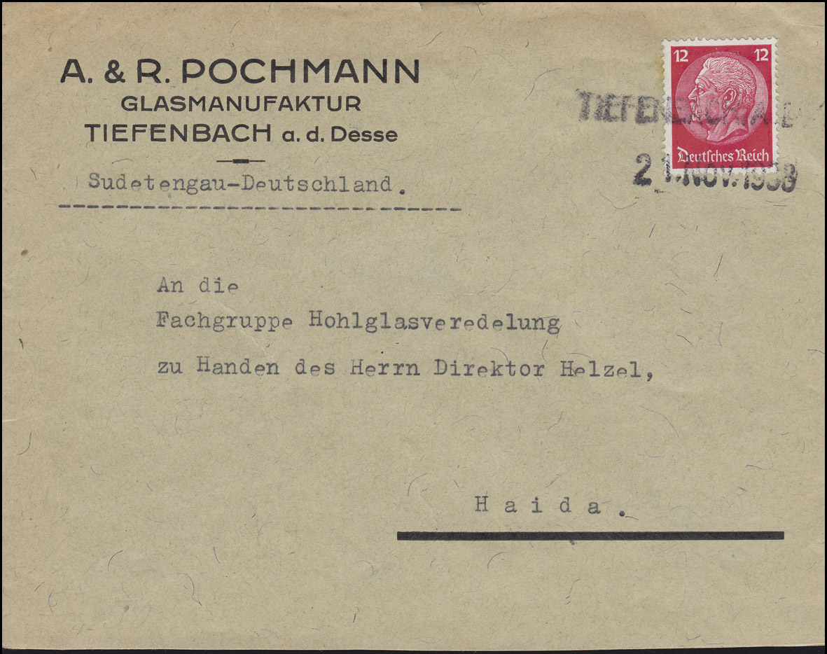 Hindenburg 12 Pf Brief Zweizeiler TIEFENBACH A. D. DESSE 21. Nov. 1938 n. Haida 0