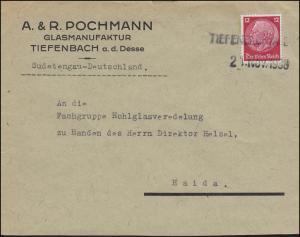 Hindenburg 12 Pf Brief Zweizeiler TIEFENBACH A. D. DESSE 21. Nov. 1938 n. Haida