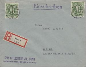31 AM-Post 42 Pf. als MeF auf R-Brief BONN 3.4.46 nach Köln 4.4.46