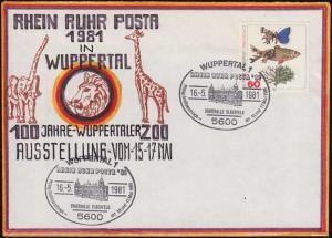RHEIN RUHR POSTA Wuppertaler Zoo handgemalter Künstler-Bf SSt Stadthalle 18.5.81
