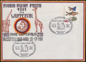 RHEIN RUHR POSTA Wuppertaler Zoo Künstler-Brief SSt Pinguin 15.5.81