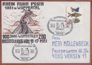 RRP Wuppertaler Schwebebahn selbstgemalter Brief SSt Wuppertal Pinguin 15.5.81