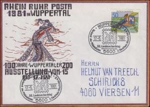 RRP Wuppertaler Schwebebahn selbstgemalter Brief SSt Wuppertal vdph 17.5.1981