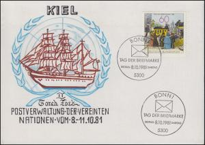 1112 Tag der Briefmarke, selbstgemalter Brief GORCH FOCK, mit ESSt Bonn 8.10.81