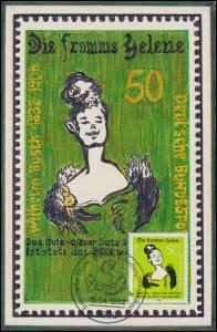 1129 W. Busch Die fromme Helene: selbstgemalte Maximumkarte ESSt Bonn 15.4.1982
