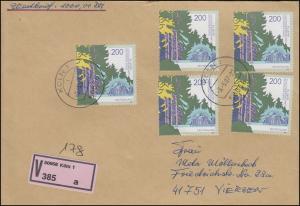 1919 SDW 5mal aus Block 38 MeF Wert-FDC ET-O Köln 5.5.97 n. Viersen mit E-Schein