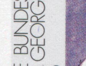 1689II George mit PLF II roter und blauer Strich im O, Feld 5, gestempelt