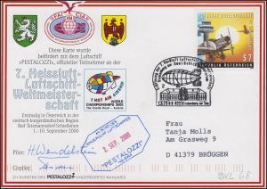 Luftschiffspost DKL 68 PESTALOZZI 7. Heissluft-Luftschiff-WM STUBENBERG 2.9.2000
