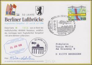 Luftschiffspost DKL 51 PESTALOZZI  Berliner Luftbrücke SSt BERLIN 26.6.98