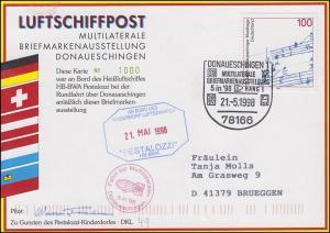 Luftschiffspost DKL 49 PESTALOZZI Briefmarkenausstellung DONAUESCHINGEN 21.5.98