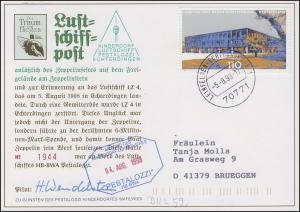 Luftschiffspost DKL 52 PESTALOZZI Zeppelinfest Echterdingen LEINFELDEN 5.8.98