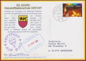 Luftschiffspost DKL 50 PESTALOZZI Heissluftballonschule FAHRWANGEN 25.5.1998