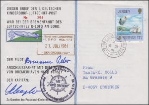 Luftschiffspost DKL 5 D-LDFO Bremenfahrt Bremerhaven nach Jersey JERSEY 8.9.1981
