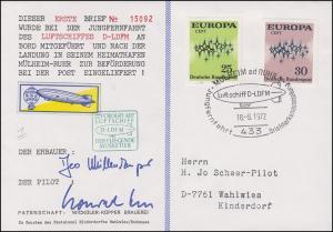 Luftschiffspost DKL 1 D-LDFM Der fliegende Musketier SSt MÜHLHEIM/RUHR 18.8.1972