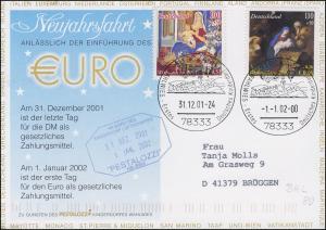 Luftschiffspost DKL 80 EURO-Neujahrsfahrt STOCKACH 31.12.01 / STOCKACH 1.1.02