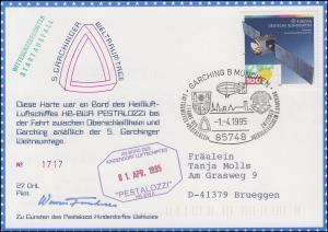 Luftschiffspost DKL 27 PESTALOZZI Garchinger Weltraumtage SSt GARCHING 1.4.1995