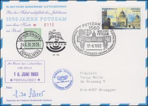 Luftschiffspost DKL 18 PESTALOZZI 1000 Jahre Potsdam SSt POTSDAM 17.6.1993