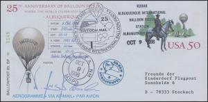 Ballonpost HB-BKW USA-Fahrt Albuquerque/USA - Isleta I.R./USA 9.10.1996