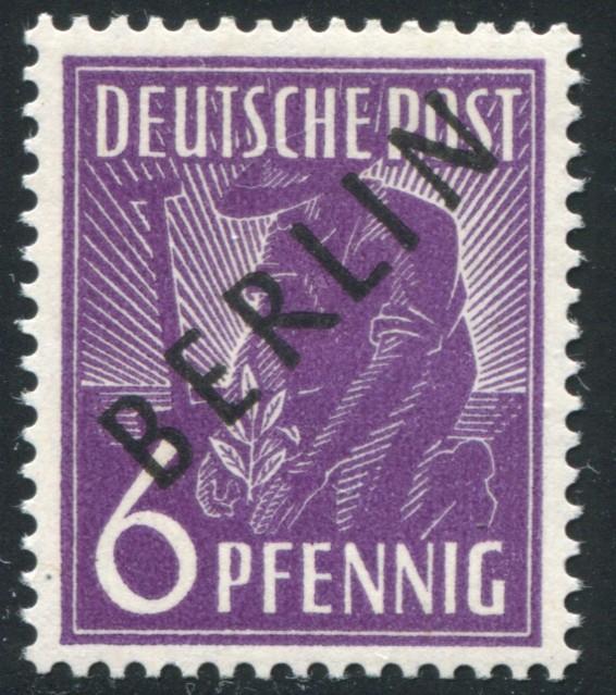 2x Schwarzaufdruck 6 Pf. - dickes Papier x, postfrisch ** geprüft Schlegel BPP 0