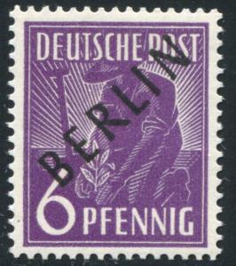 2x Schwarzaufdruck 6 Pf. - dickes Papier x, postfrisch ** geprüft Schlegel BPP