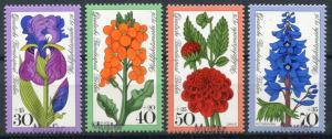 524-527 Jugend Gartenblumen 1976, 4 Werte, kompletter Satz mit Aufdruck MUSTER