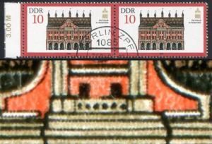 2869 Denkmalspflege 10 Pf. Rand-Paar mit PLF Linienbruch, Fled 22, VS-O Berlin