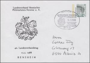 PU 288/22 SWK 80 Pf. 40. LV-Tag Hessen St. Georg, SSt Bensheim 15.5.88 n. Mainz