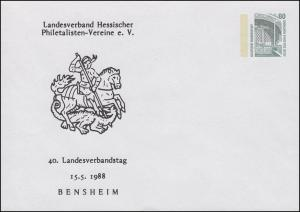 PU 288/22 SWK 80 Pf. 40. LV-Tag Hessen in Bensheim 1988 St. Georg, ungebraucht