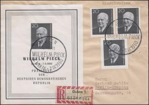Block 16 Pieck mit 2mal 784A + 784B auf R-Brief SSt GUBEN Wilhelm Pieck 10.10.60