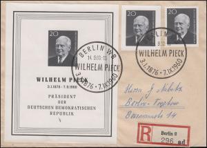 Block 16 Pieck mit 784A+784B auf Orts-R-Brief SSt BERLIN Wilhelm Pieck 14.9.1960