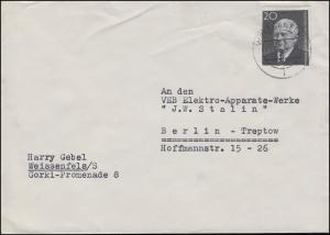 784B Pieck 20 Pf. aus Block 16 als EF Brief WEISSENFELS 13.1.61 nach Berlin