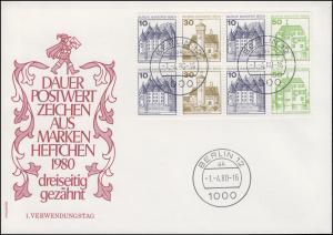 Heftchenblatt 19 aus MH 11 BuS 1980 auf Blanko-Schmuck-FDC VS-O Berlin 1.4.1980