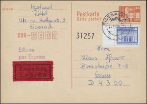 P 87I Bauwerke 25 Pf. mit 1948 als OR-Stück, Eil-PK EISENACH 4.11.86 nach Essen