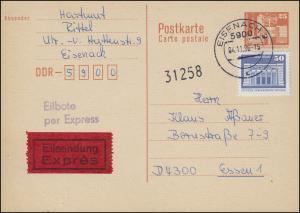 P 87I Bauwerke 25 Pf. mit 1948 Eil-Postkarte von EISENACH 4.11.86 nach Essen