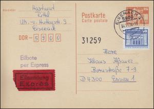 P 87I Bauwerke 25 Pf. mit 1948 Eil-Postkarte von EISENACH 4.11.1986 nach Essen